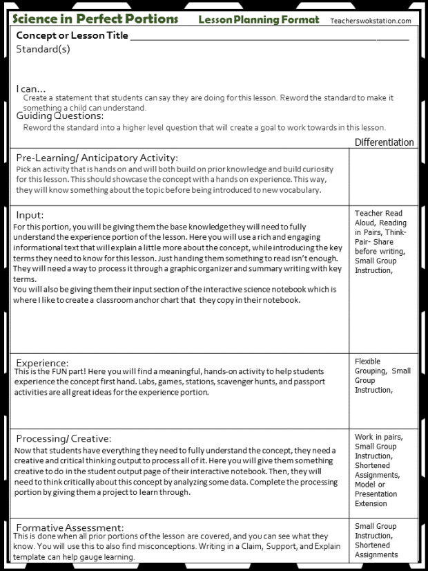 Science in Perfect Portions Lesson Planning Format