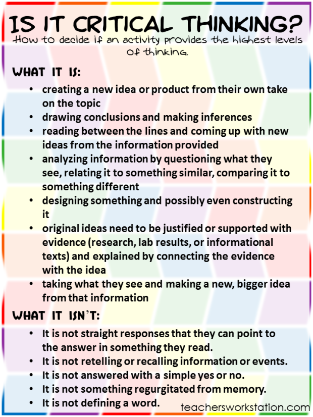 Critical Thinking Guidlines for Lesson Activities