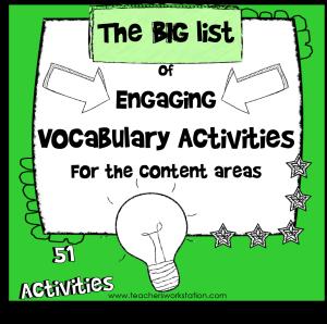 Big List of Vocabulary Activities