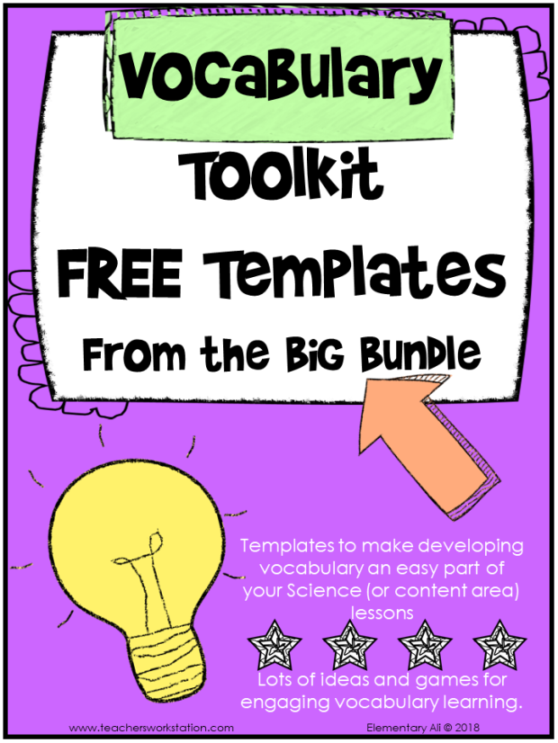 Science Vocabulary Template Toolkit Freebie