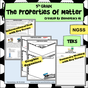 Properties of Matter literacy 5th