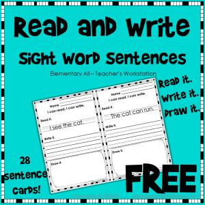 Kindergarten Sight Word Sentences cover free