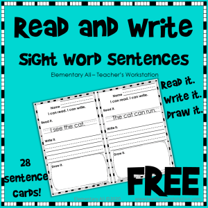 Kindergarten Sight Word Sentences cover free