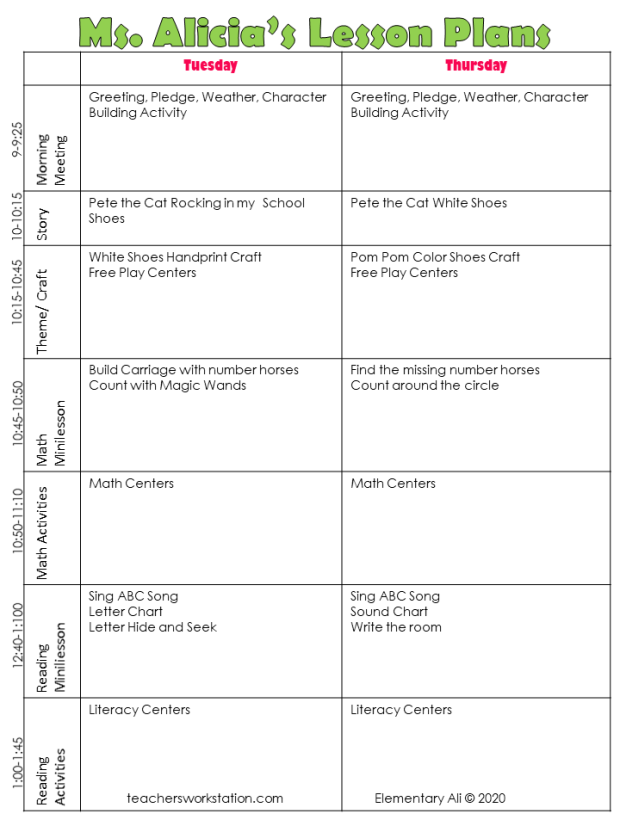 preschool lesson plan and schedule